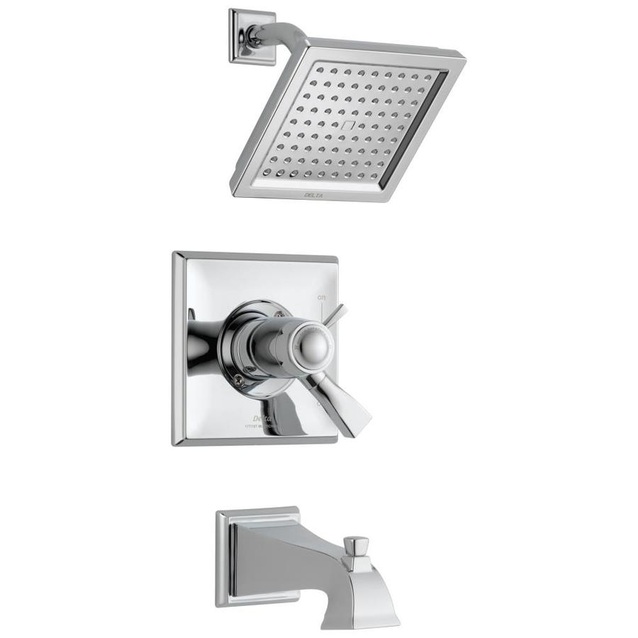 Delta Dryden Thermostatic Chrome 1-Handle Bathtub and Shower Faucet Trim Kit with Rain Showerhead