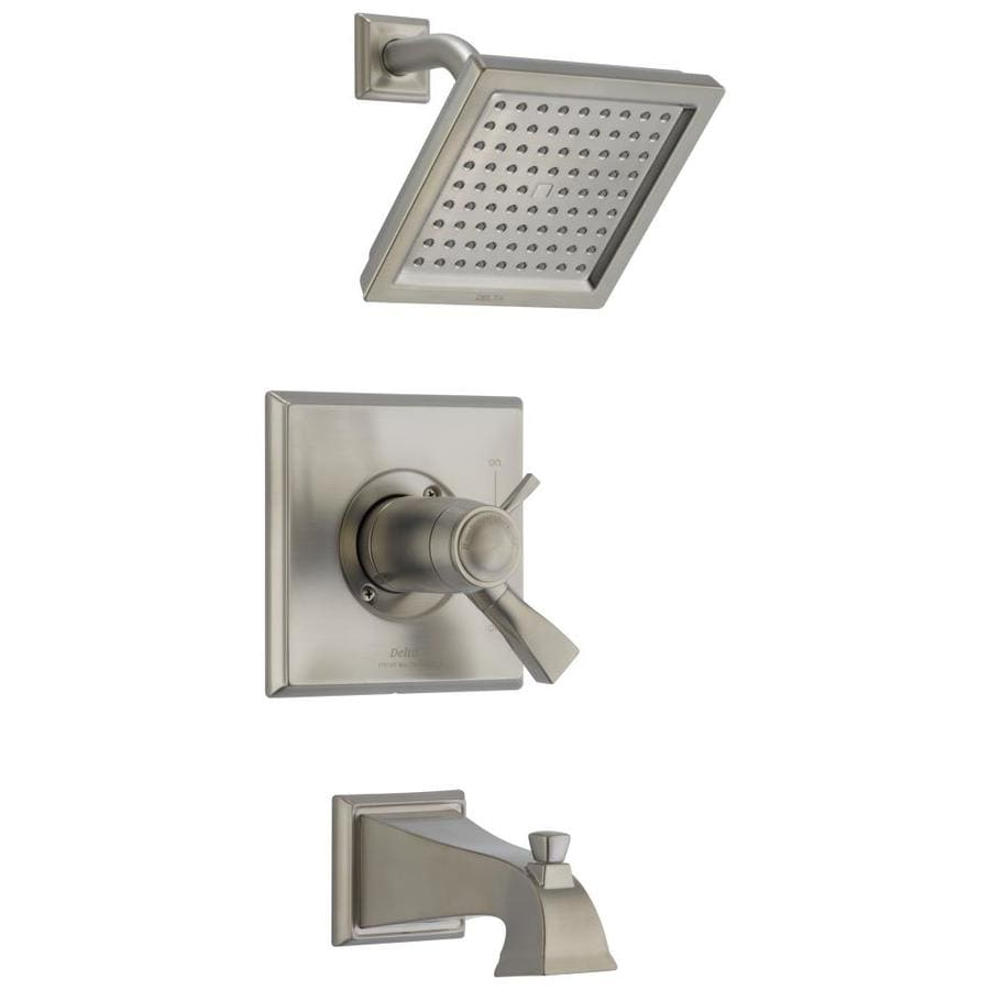 Delta Dryden Thermostatic Stainless 1-Handle Bathtub and Shower Faucet Trim Kit with Rain Showerhead