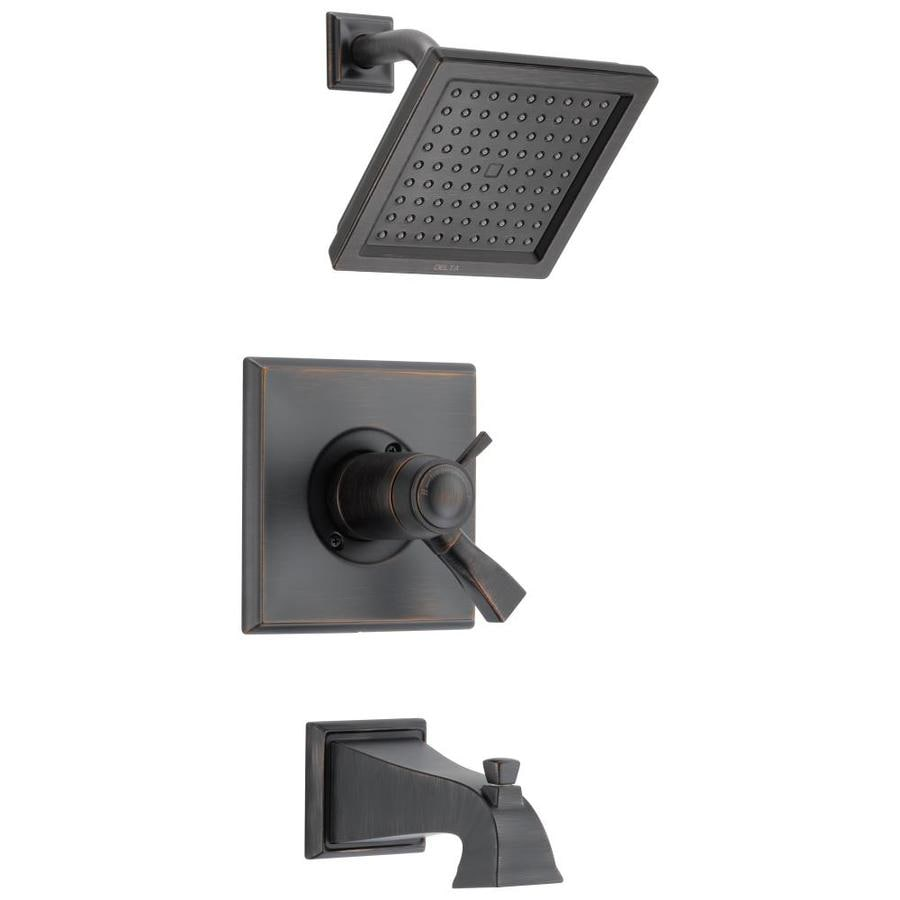 Delta Dryden Thermostatic Venetian Bronze 1-Handle Bathtub and Shower Faucet Trim Kit with Rain Showerhead