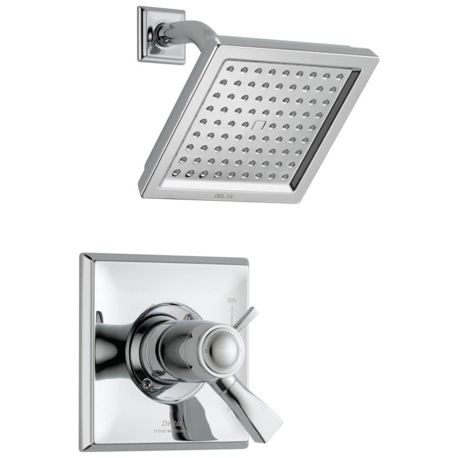 Delta Dryden Thermostatic Chrome 1-Handle Shower Faucet Trim Kit with Rain Showerhead