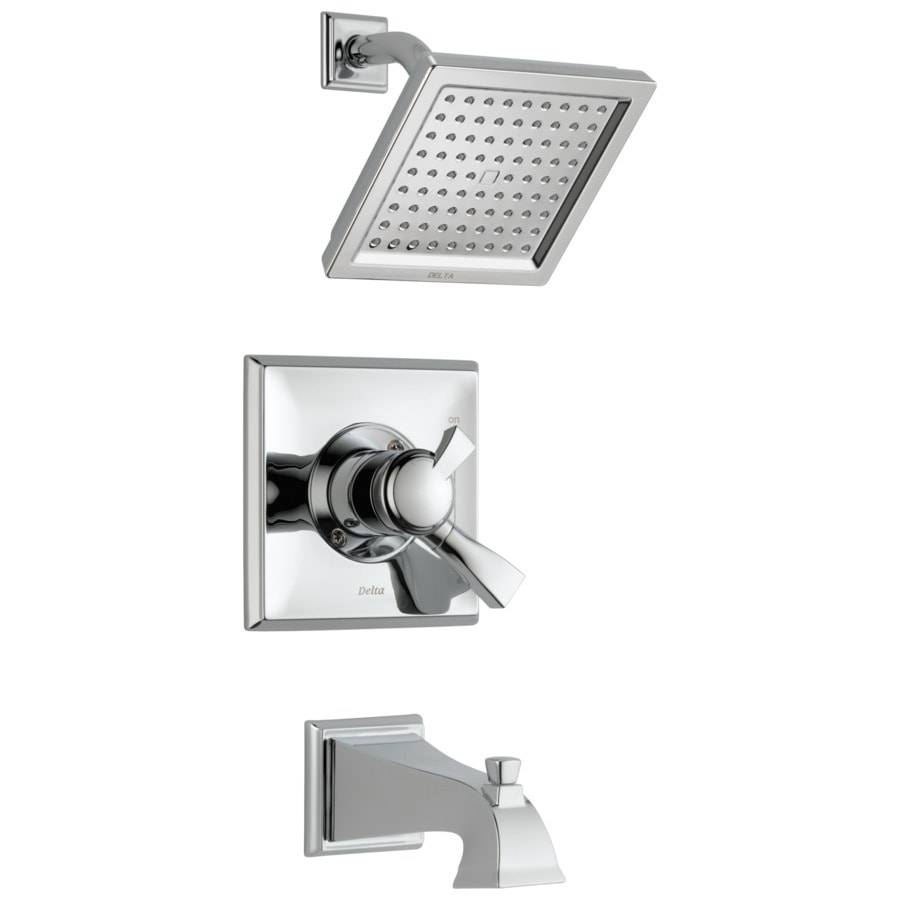 Delta Dryden Chrome 1-Handle Bathtub and Shower Faucet Trim Kit with Rain Showerhead