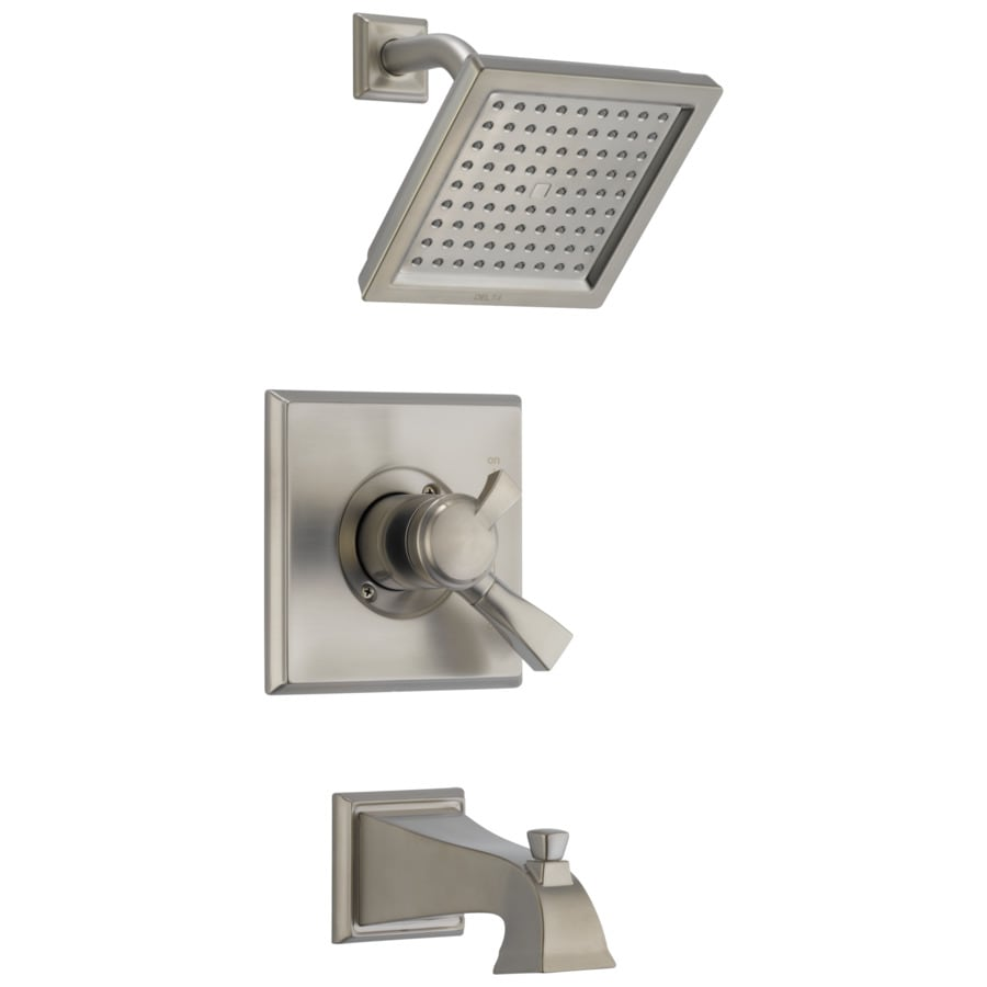 Delta Dryden Stainless 1-Handle Bathtub and Shower Faucet Trim Kit with Rain Showerhead
