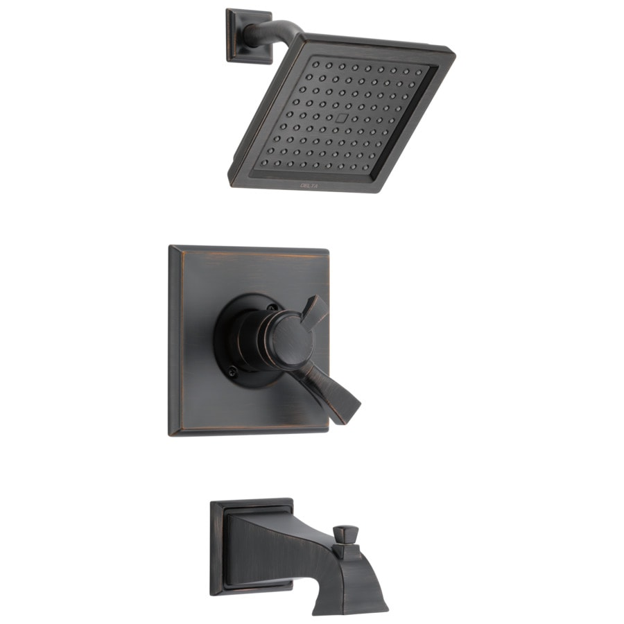 Delta Dryden Venetian Bronze 1-Handle Bathtub and Shower Faucet Trim Kit with Rain Showerhead