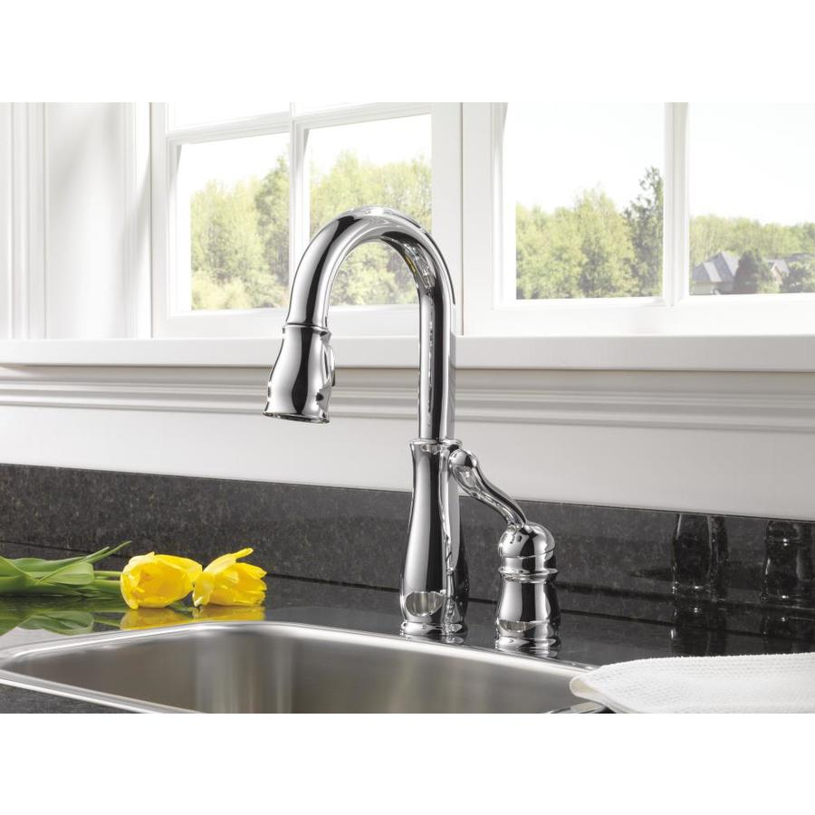Delta Leland Chrome 1 Handle Deck Mount Pull Down Handle Kitchen Faucet In The Kitchen Faucets Department At Lowes Com