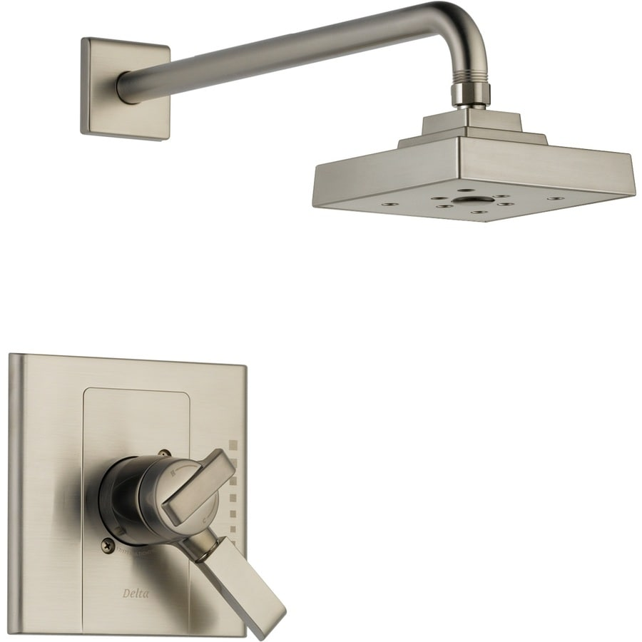 Delta Arzo Stainless 1-Handle Shower Faucet Trim Kit with Rain Showerhead