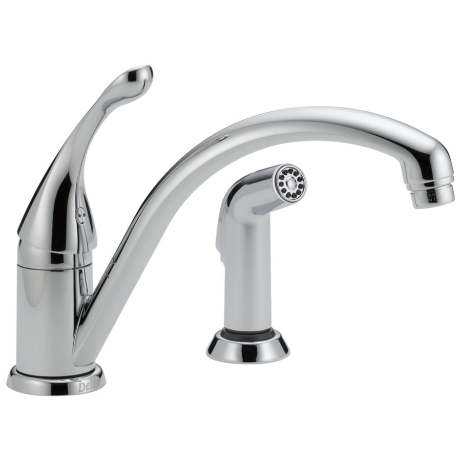 Delta Collins Chrome 1-Handle Deck Mount Low-Arc Kitchen Faucet