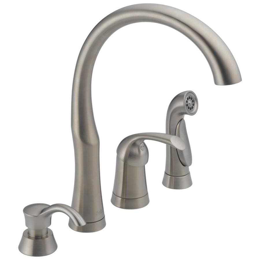 Shop Delta Bellini Stainless 1 Handle Deck Mount High Arc Kitchen Faucet At Lowes Com