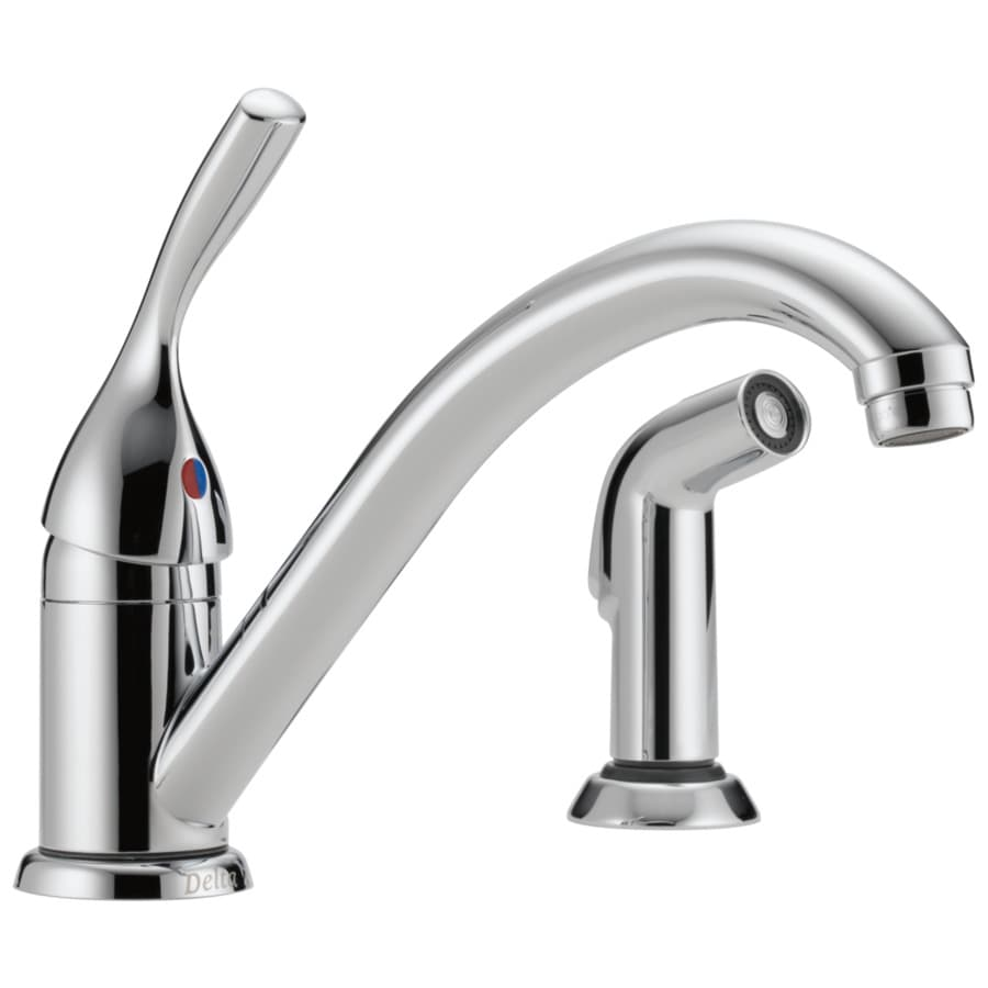 Delta Classic Chrome 1-Handle Deck Mount Low-Arc Kitchen Faucet