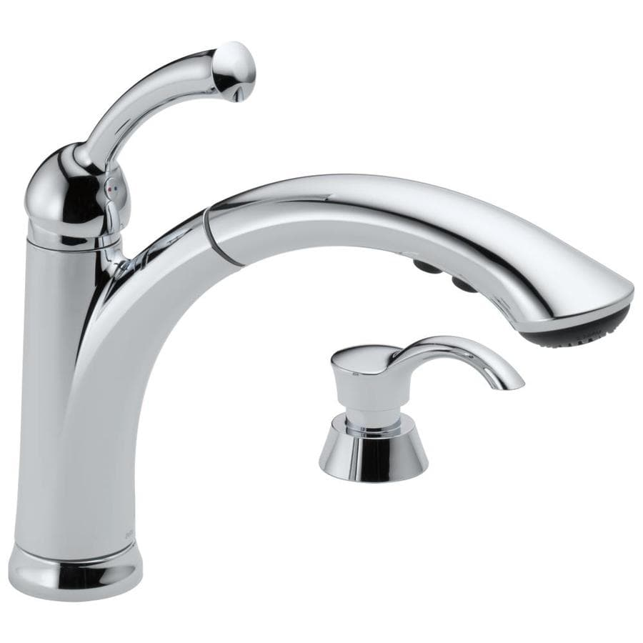 Delta Chrome Kitchen Faucets Shop Delta Lewiston Chrome 1 Handle Pull Out Kitchen Faucet At