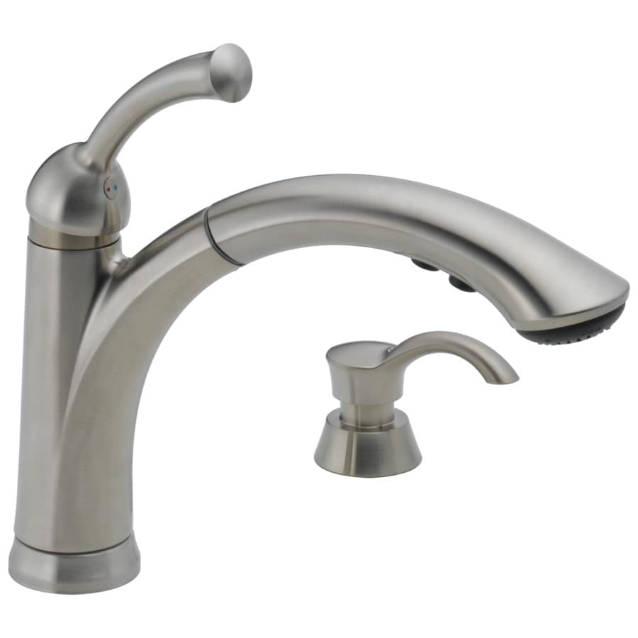 delta faucets for kitchen delta lewiston stainless 1 handle deck mount pull out kitchen faucet at lowes com 3916