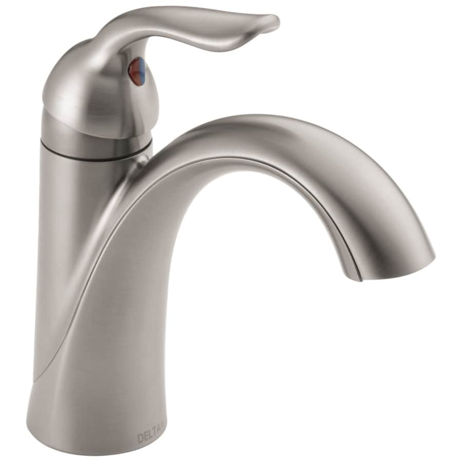 Delta Lahara Stainless 1-Handle 4-in Centerset WaterSense Bathroom Faucet (Drain Included)