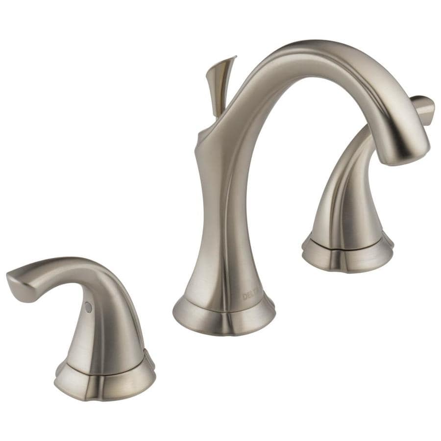 Shop delta addison stainless 2 handle widespread bathroom sink faucet at for Delta widespread bathroom faucet