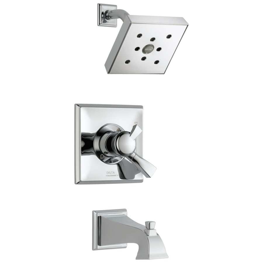 Delta Dryden Chrome 1-Handle WaterSense Bathtub and Shower Faucet Trim Kit with Rain Showerhead