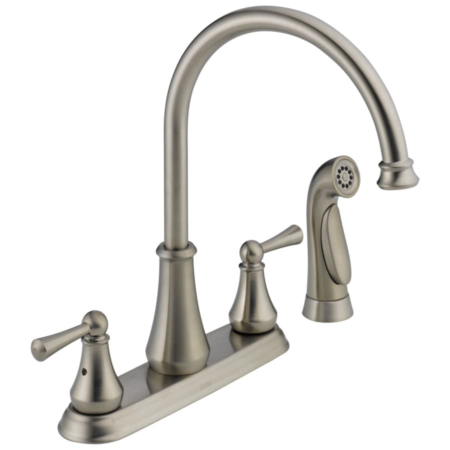 Delta lewiston stainless 2 handle deck mount high arc kitchen faucet