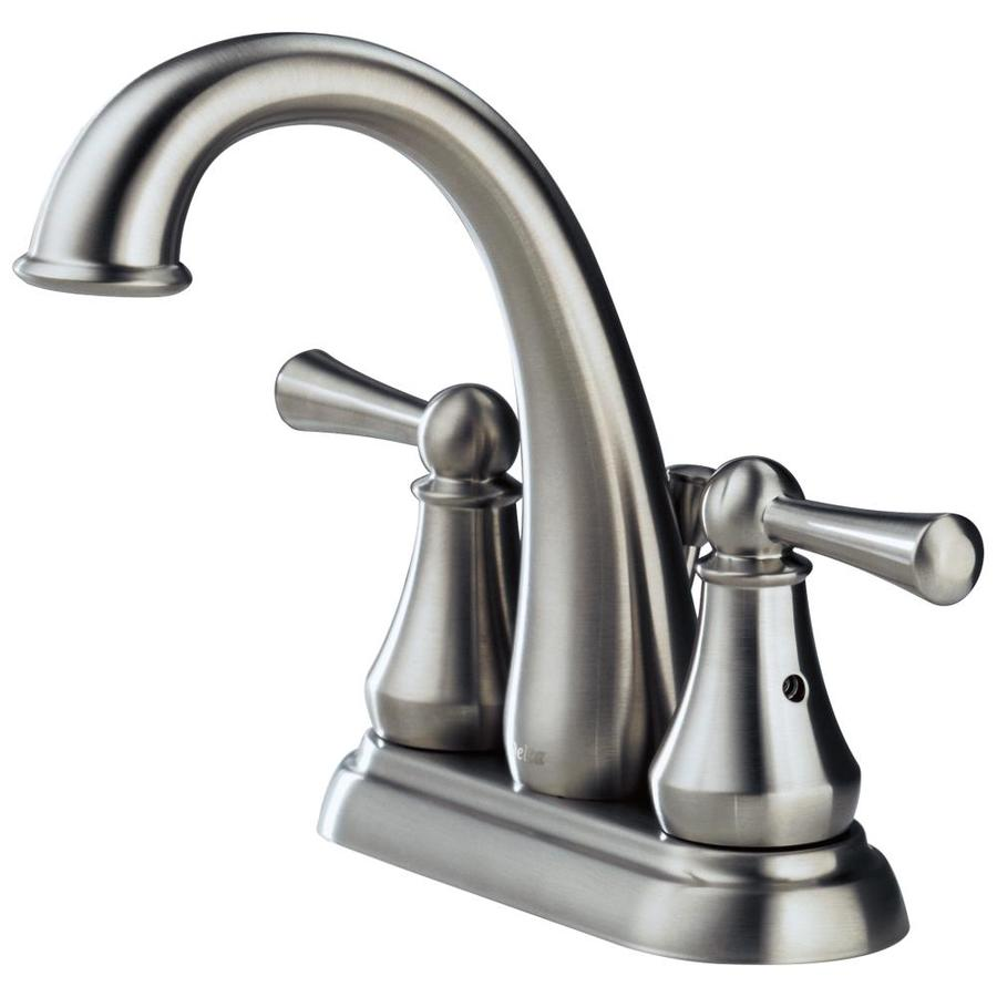 Shop delta lewiston stainless 2 handle 4 in centerset for Bathroom sink faucets