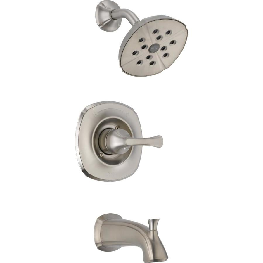 Delta Addison Stainless 1-Handle WaterSense Bathtub and Shower Faucet Trim Kit with Single Function Showerhead