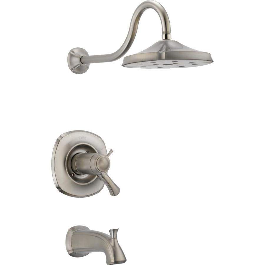 Delta Addison Thermostatic Stainless 1-Handle Bathtub and Shower Faucet Trim Kit with Rain Showerhead