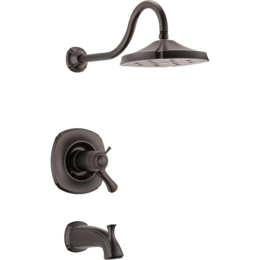 Delta Addison Thermostatic Venetian Bronze 1-Handle Bathtub and Shower Faucet Trim Kit with Rain Showerhead