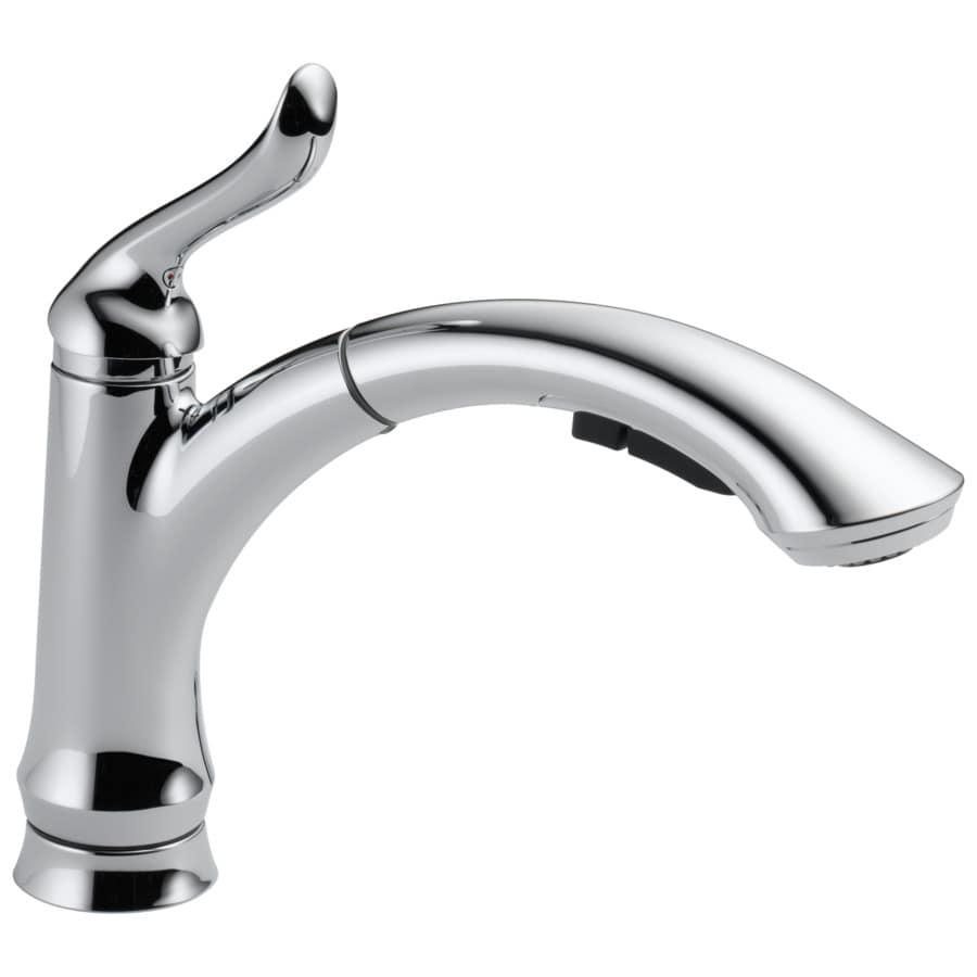 Delta Linden Chrome 1-Handle Deck Mount Pull-Out Kitchen Faucet
