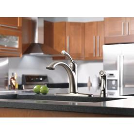 Shop Delta Lewiston Stainless 1 Handle Deck Mount High Arc Kitchen Faucet At