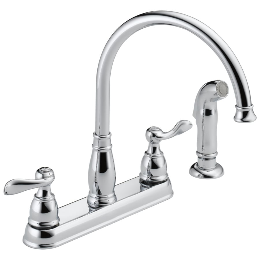Delta Windemere Chrome 2-Handle High-Arc Sink/Counter Mount Kitchen Faucet with Side Spray