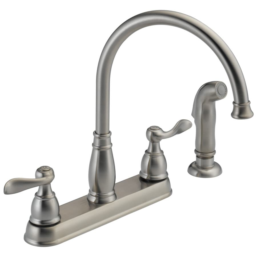 Delta Windemere Stainless 2-handle Deck Mount High-Arc Kitchen Faucet