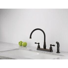Delta Windemere Oil Rubbed Bronze  Handle Deck Mount High Arc Kitchen Faucet