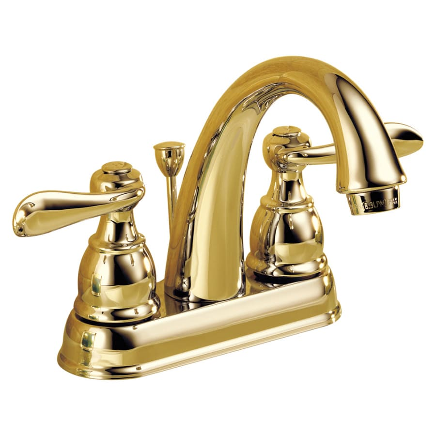 Shop Delta Windemere Polished Brass 2-Handle 4-in Centerset ...
