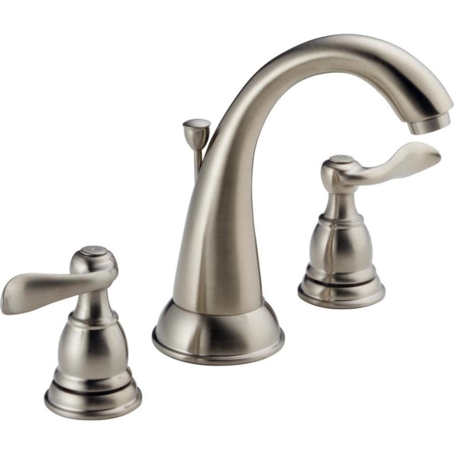 Delta Windemere with Plastic Drain Brushed Nickel 2-Handle Widespread WaterSense Bathroom Faucet (Drain Included)