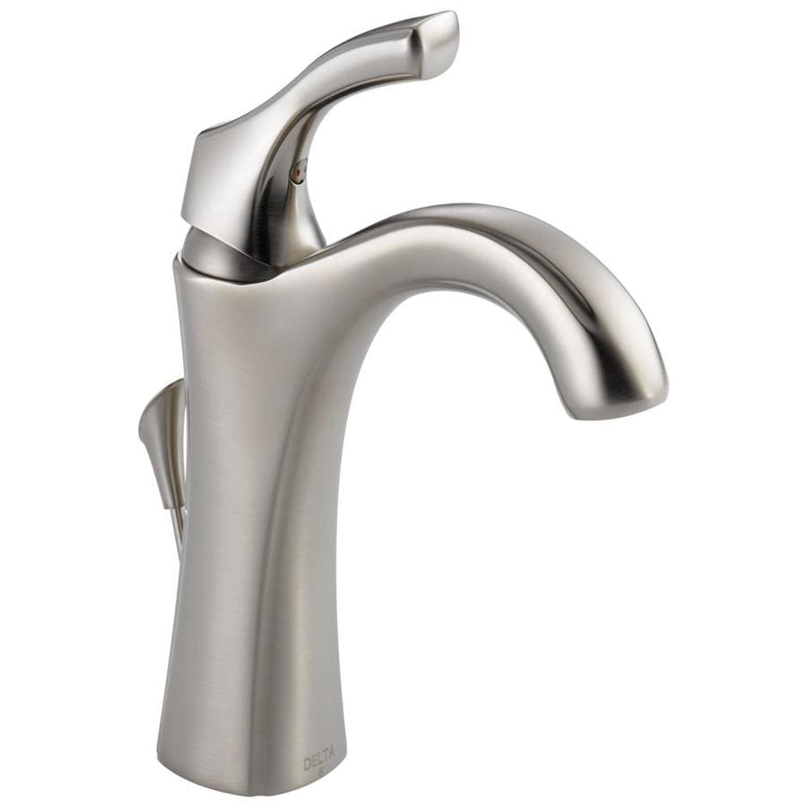 Shop delta addison stainless 1 handle single hole 4 in for Bathroom sink faucets