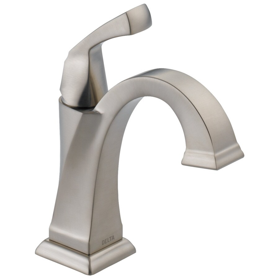 Delta Dryden Stainless 1-Handle 4-in Centerset WaterSense Bathroom Faucet (Drain Included)