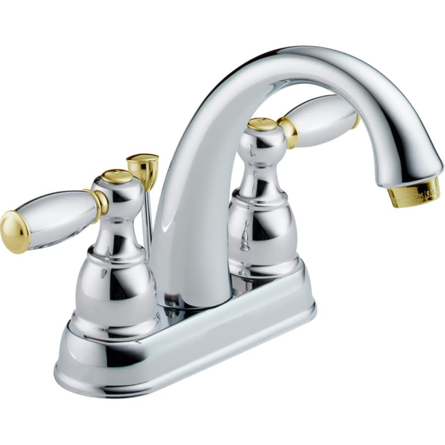 Delta traditional chrome brass 2 handle 4 in centerset watersense bathroom faucet