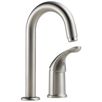 Classic Stainless 1-handle Deck Mount High-arc Kitchen Faucet