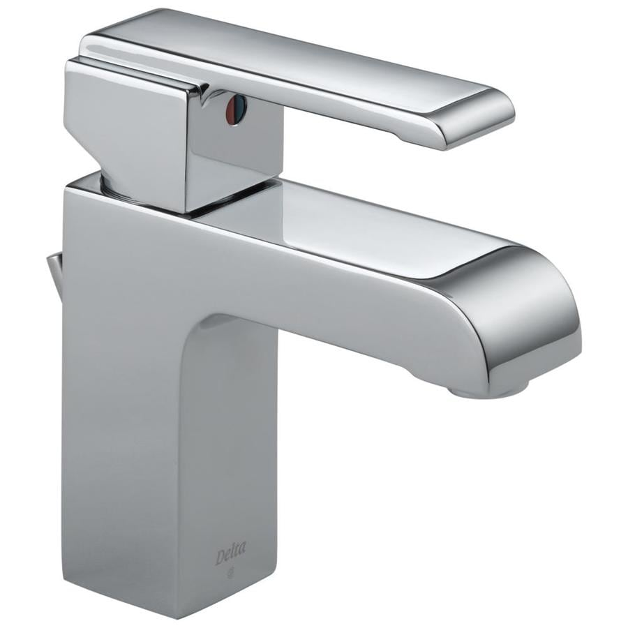 Delta Arzo Chrome 1-Handle Single Hole WaterSense Bathroom Faucet (Drain Included)