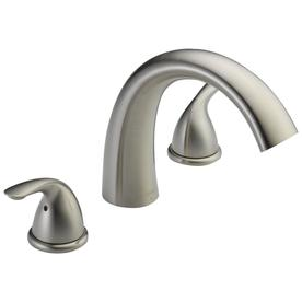 Delta Stainless 2 Handle Deck Mount Bathtub Faucet