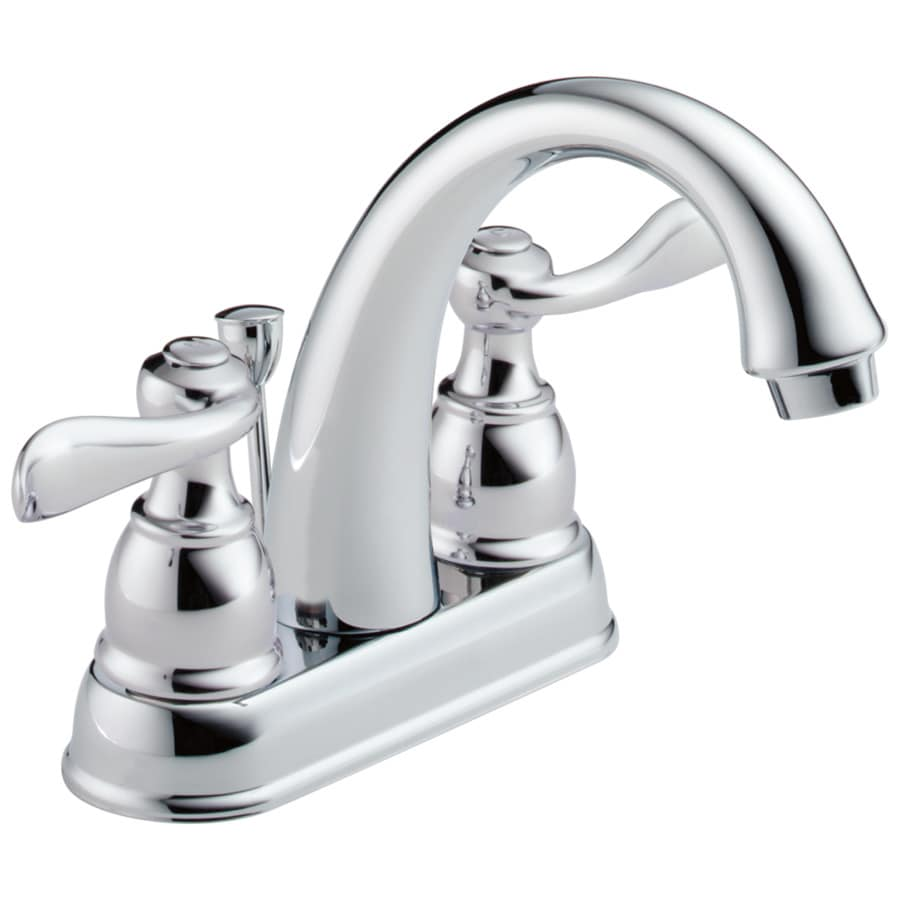 Shop delta windemere chrome 2 handle 4 in centerset for Bathroom faucets lowes