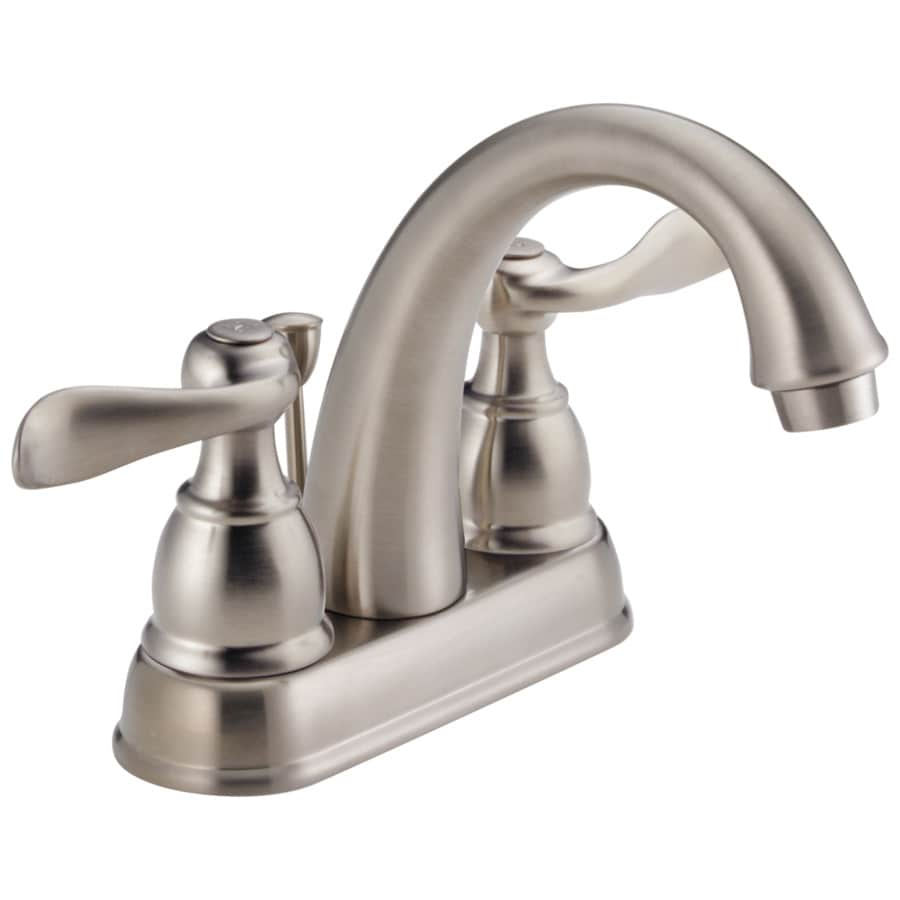 Delta Windemere Stainless 2-Handle 4-in Centerset WaterSense Bathroom Faucet (Drain Included)