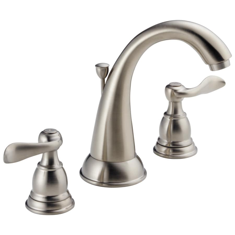 Shop delta windemere with metal drain stainless 2 handle widespread watersense bathroom faucet for Delta widespread bathroom faucet