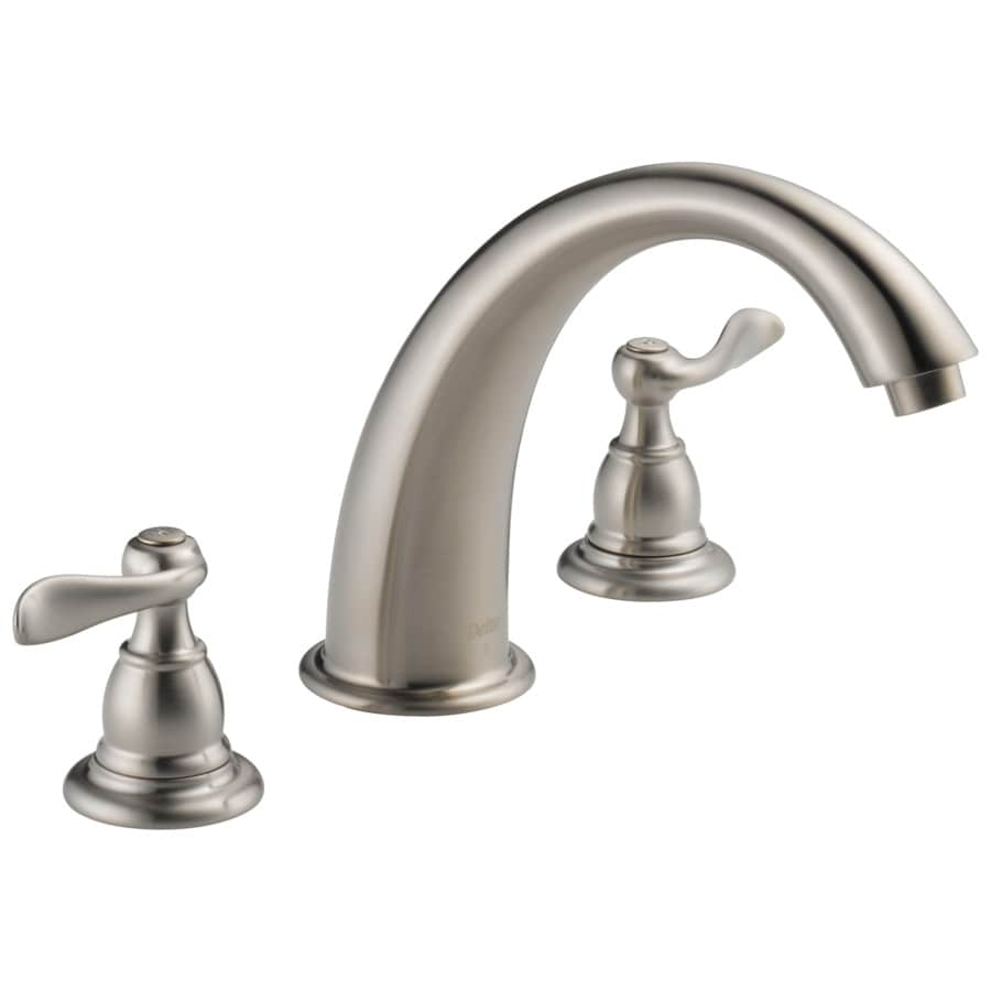 stainless 2 handle adjustable deck mount bathtub faucet at