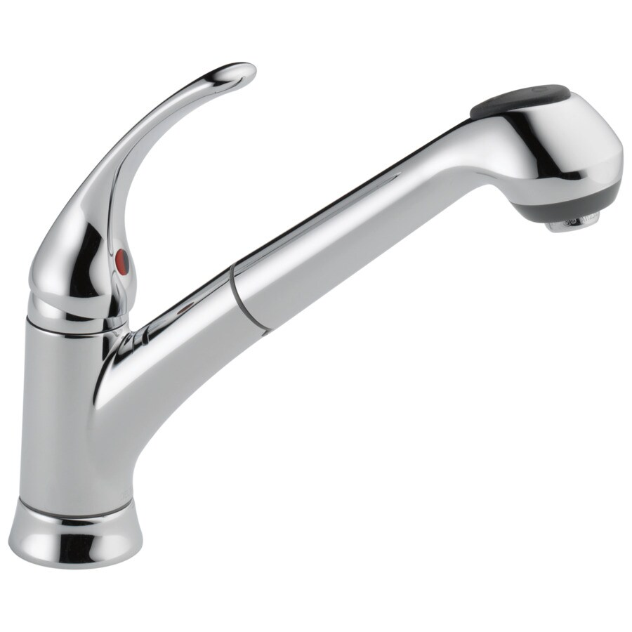 Shop Delta Foundations Chrome 1 Handle Deck Mount Pull Out Kitchen Faucet At