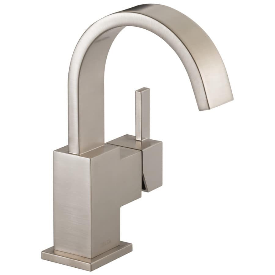 Delta Vero Stainless 1-Handle Single Hole/4-in Centerset WaterSense Bathroom Faucet (Drain Included)