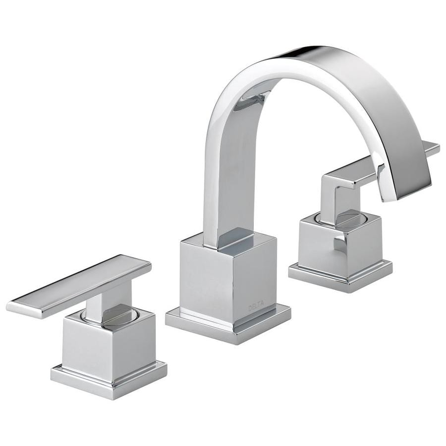 Shop Delta Vero Chrome 2 Handle Widespread Watersense Bathroom Faucet Drain Included At
