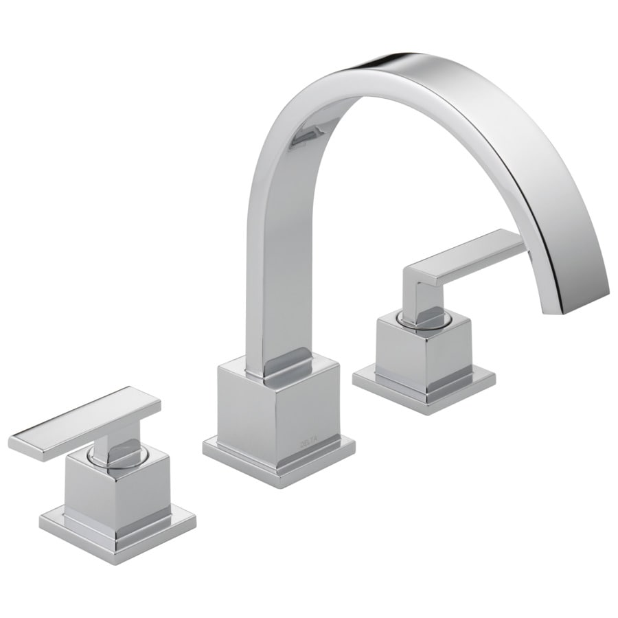 shop delta vero chrome 2 handle adjustable deck mount bathtub faucet