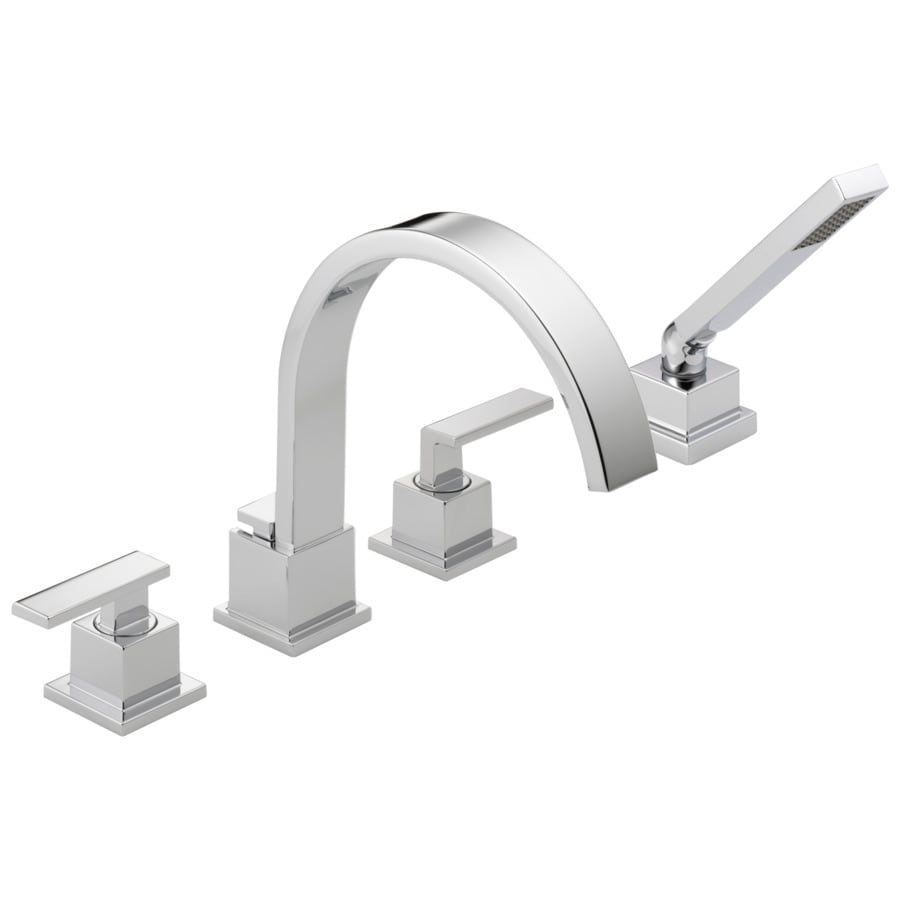 Shop Delta Vero Chrome 2 Handle Adjustable Deck Mount Bathtub Faucet At