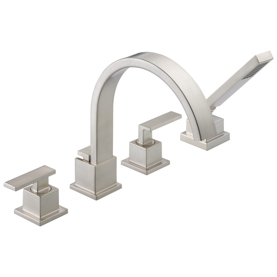 delta vero stainless 2 handle adjustable deck mount bathtub faucet