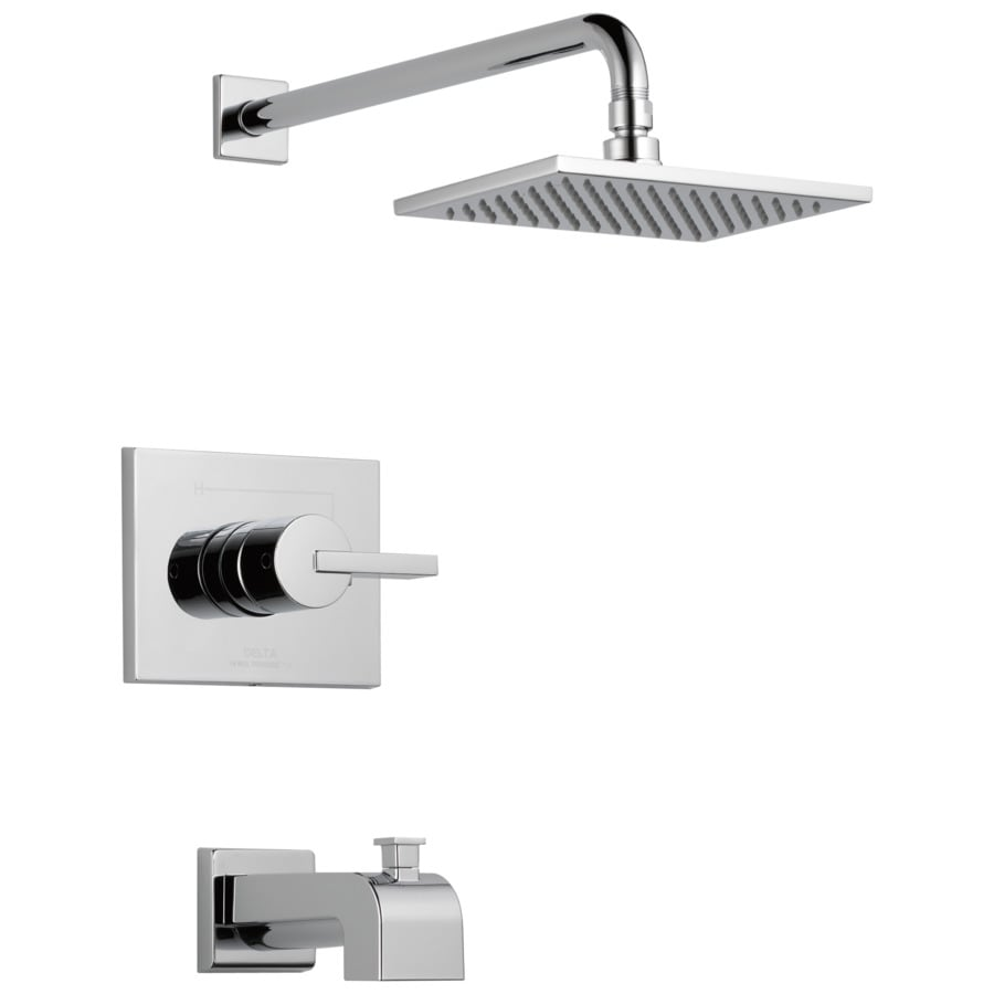 Delta Vero Chrome 1-Handle Bathtub and Shower Faucet Trim Kit with Rain Showerhead
