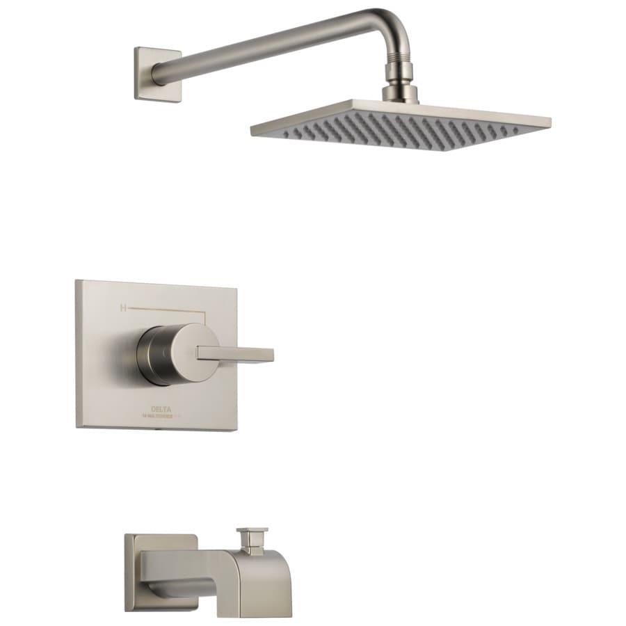 Delta Vero Stainless 1-Handle Bathtub and Shower Faucet Trim Kit with Rain Showerhead