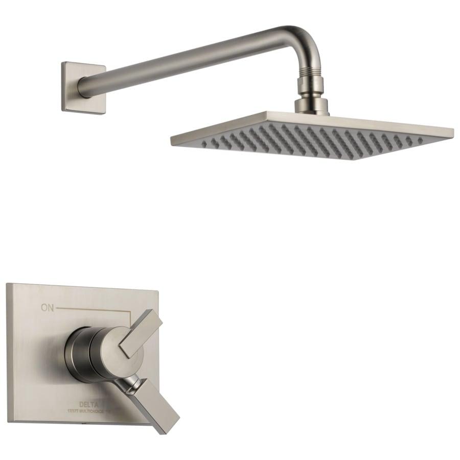 Delta Vero Stainless 1-Handle Shower Faucet Trim Kit with Rain Showerhead