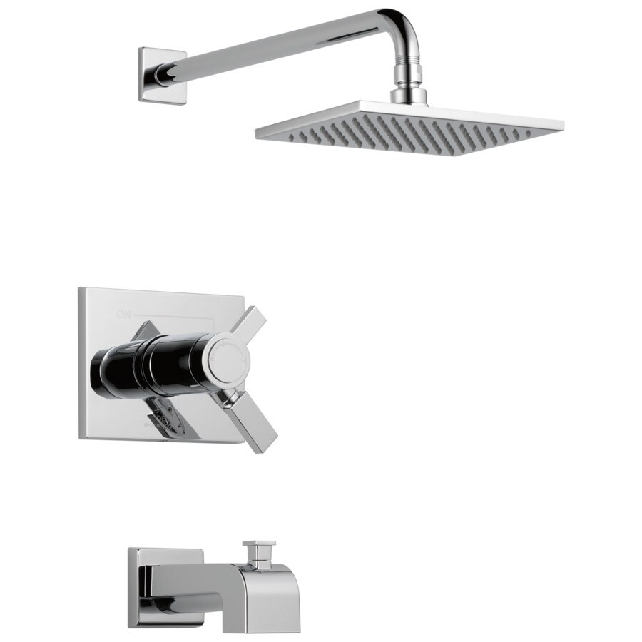 Delta Vero Thermostatic Chrome 1-Handle Bathtub and Shower Faucet Trim Kit with Rain Showerhead
