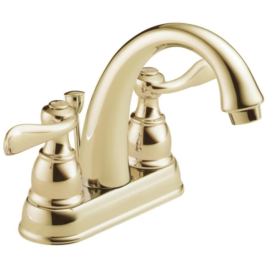 Delta Windemere Polished Brass 2-Handle 4-in Centerset WaterSense Bathroom Faucet Drain Included